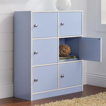 【咱的厝】DIY輕鬆收納六門櫃/書櫃/置物櫃/收納櫃(藍色)