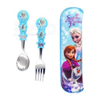 【SuperBO】湯叉匙套組-冰雪奇緣(附收納袋)Elsa-藍色