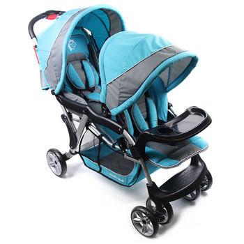 BabyBabe 歐風雙人手推車 - 藍