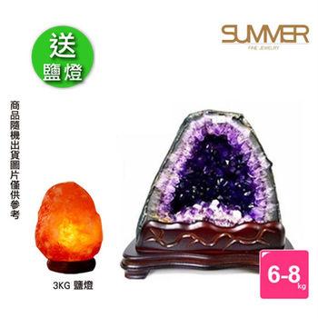 【SUMMER寶石】買1送1 巴西3A級天然紫晶洞6-8公斤-送3kg鹽燈X1(隨機出貨)