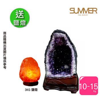 【SUMMER寶石】買1送1-巴西3A級天然紫晶洞10-15公斤-送3kg鹽燈X1(隨機出貨)