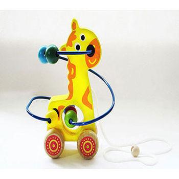 木製可愛動物繞珠早教益智玩具_長頸鹿