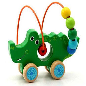 木製可愛動物繞珠早教益智玩具_鱷魚