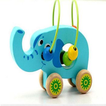 木製可愛動物繞珠早教益智玩具_大象