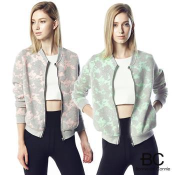 【法國BC】空氣針織緹花拉鍊外套(粉/綠)