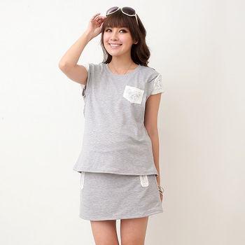 【時尚媽咪】韓版居家簡約蕾絲點綴套裝