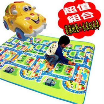 《孩子國》蔓葆兒童城市字母爬行墊+水果玩具車超值優惠組