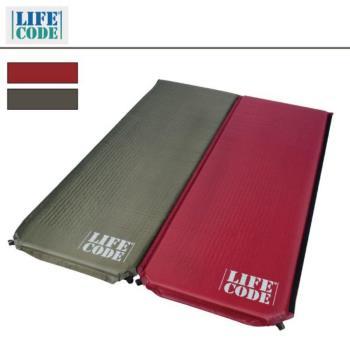 LIFECODE《雙面可用》自動充氣睡墊-厚5cm(軍綠配酒紅)