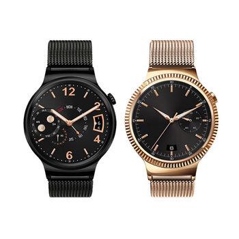 【HOCO】HUAWEI Watch 格朗錶帶米蘭尼斯款 - 黑色/玫瑰金( 22mm 錶扣均適用)