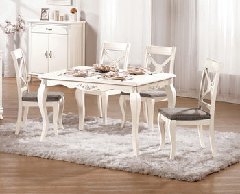 【H&D】白玫瑰4尺餐桌椅組(一桌四椅)