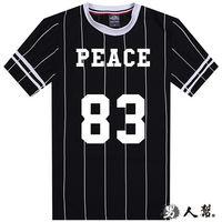 ~男人幫~T1171~MIT  ~英文PEACE和平數字83袖口拼接條紋短袖T恤~加大 情