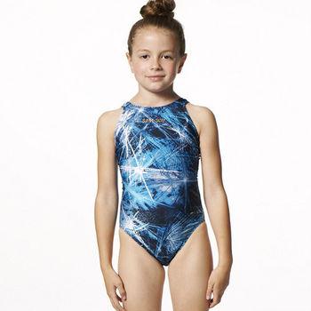 【SAIN SOU】競賽/泳隊女童連身三角泳裝附矽膠泳帽A87507