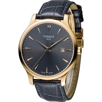 天梭 TISSOT Tradition系列經典懷舊時尚腕錶 T0636103608600 銀灰x玫瑰金