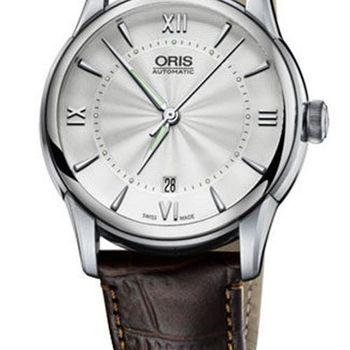 Oris Artelier藝術家日期錶-銀x咖啡/40.5mm(0173376704071-0752170FC)
