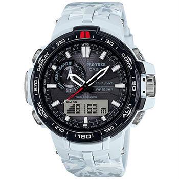 CASIO PRO TREK 高山叢林迷彩部隊太陽能電波限量登山運動腕錶-白-PRW-6000SC-7