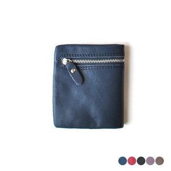 【zoeh-forest】全羊皮拉鍊折疊短夾 錢包 皮包 男女適用款 零錢袋(5色)