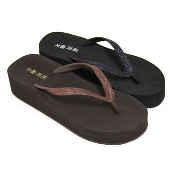 【Pretty】簡約金蔥厚底夾腳拖鞋-咖啡色、黑色