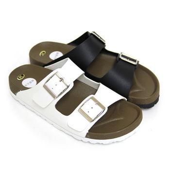【Pretty】經典熱銷寬帶平底拖鞋-白色、黑色