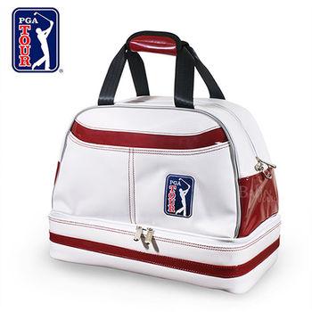 【PGA TOUR】格紋雙層衣物袋(白酒紅)