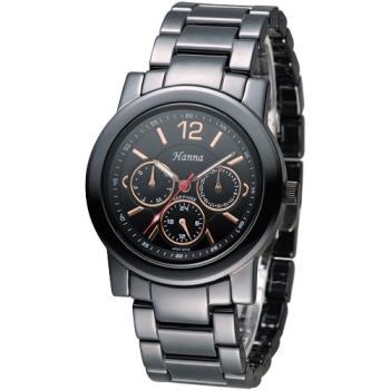 Hanna 巴黎時尚全日曆黑陶瓷腕錶-金刻