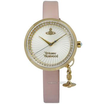 Vivienne Westwood / VV139WHPK / 夢幻愛戀旋渦晶鑽真皮腕錶 金x粉 32mm