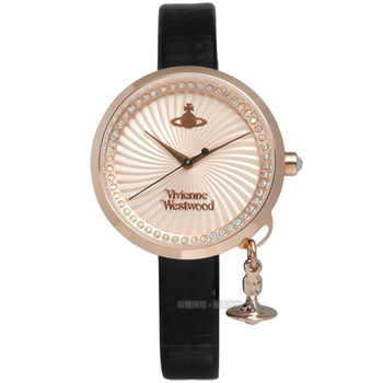 Vivienne Westwood / VV139RSBK / 夢幻愛戀旋渦晶鑽真皮腕錶 玫瑰金x黑 32mm