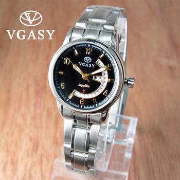 VGASY彎月日星期質感不鏽鋼錶