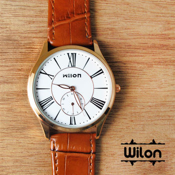 Wilon時尚小秒針羅馬數字皮革錶