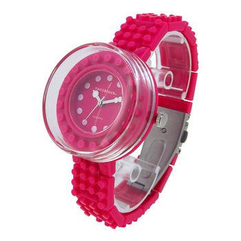 【nanoblock河田積木】圓形手錶 桃紅色WA26(微型積木)
