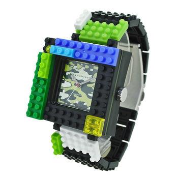 【nanoblock河田積木】中性錶綠框綠迷彩 WA15(微型積木)