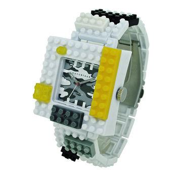【nanoblock河田積木】中性錶白框灰迷彩WA13(微型積木)