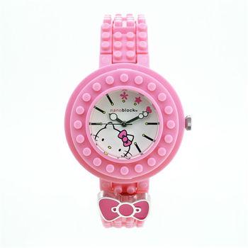限量>nanoblock迷你積木手錶 (Hello Kitty聯名款)粉紅