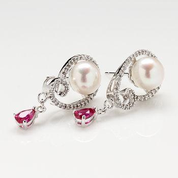 【寶石方塊】水月觀音天然珍珠耳環-925銀飾