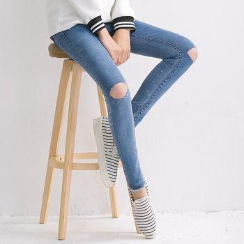 【時尚媽咪】淺藍韓版破壞感修身牛仔褲