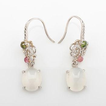 【寶石方塊】蝶舞飛翔天然月光石耳環-925純銀飾