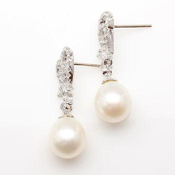 【寶石方塊】陽春白雪天然珍珠耳環-925銀飾