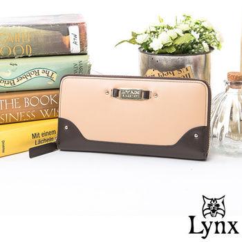 Lynx - 山貓輕熟女真皮糖果色單拉鍊長夾-共4色