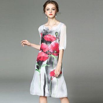 【M2M】中國風荷花圖騰下襬開衩絲麻洋裝
