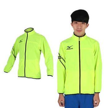 【MIZUNO】男休閒平織外套- 訓練 健身 路跑 風衣外套 美津濃 螢光黃黑
