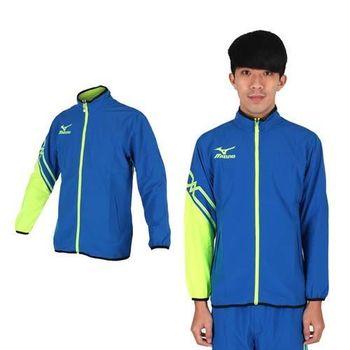 【MIZUNO】男休閒平織外套- 訓練 健身 路跑 風衣外套 美津濃 藍螢光綠
