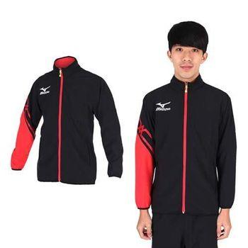 【MIZUNO】男休閒平織外套- 訓練 健身 路跑 風衣外套 美津濃 黑紅白