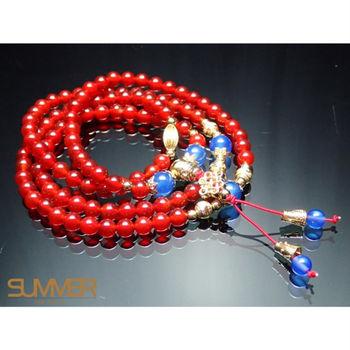 【SUMMER寶石】天然紅玉髓108顆手珠(隨機出貨)