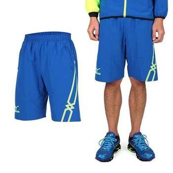 【MIZUNO】男休閒平織短褲- 訓練 健身 路跑 風褲 美津濃 藍螢光綠