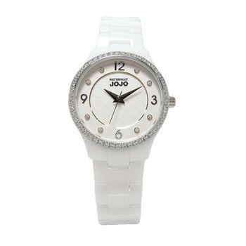 NATURALLY JOJO 女人的秘密基地時尚陶瓷優質腕錶-白-JO96881-80F