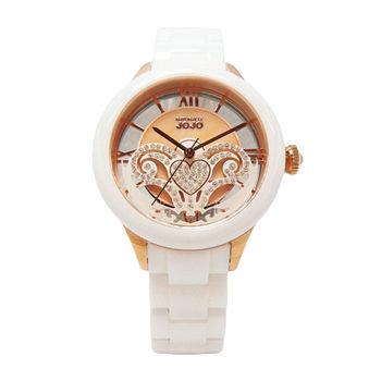 NATURALLY JOJO 翻轉愛情魔力時尚優質陶瓷腕錶-白+玫瑰金-JO96866-80R