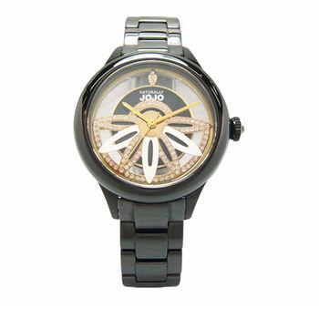 NATURALLY JOJO 翻轉愛情魔力時尚優質陶瓷腕錶-黑-JO96856-88F