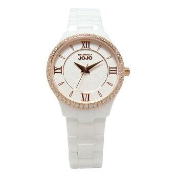 NATURALLY JOJO 女人的秘密基地時尚陶瓷優質腕錶-白+金-JO96880-80R