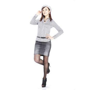 SlimJeans 大尺碼仿單寧內搭裙-黑藍兩件組(春夏款)