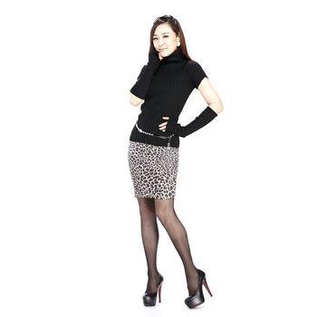 SlimJeans 大尺碼仿單寧內搭裙-黑豹紋兩件組(春夏款)