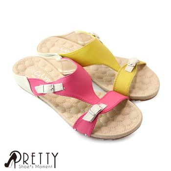 【Pretty】亮彩樂活拼色舒適平底拖鞋-桃紅色、黃色